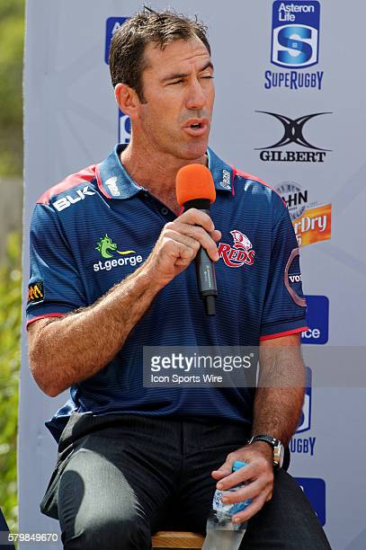 Queensland Reds coach Richard Graham speaks at a QA session during the 2016 Asteron Life Super Rugby Media Launch event at Wet'n'Wild Sydney in NSW...