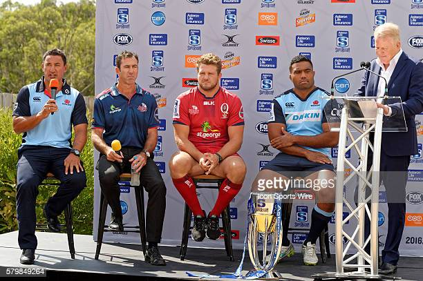 Super Rugby coaches Daryl Gibson and Richard Graham together with players James Slipper and Wycliff Palu at a QA session during the 2016 Asteron Life...
