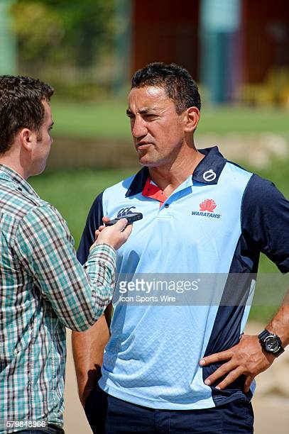 Waratahs coach Daryl Gibson chats to the media during the 2016 Asteron Life Super Rugby Media Launch event at Wet'n'Wild Sydney in NSW Australia
