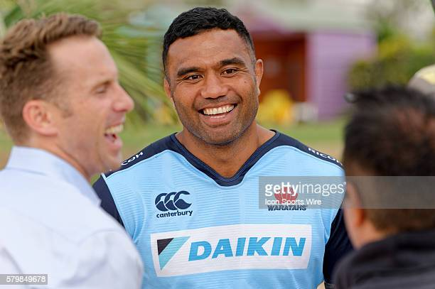 Waratahs player and veteran Wallabies No8 Wycliff Palu jokes with the media during the 2016 Asteron Life Super Rugby Media Launch event at Wet'n'Wild...