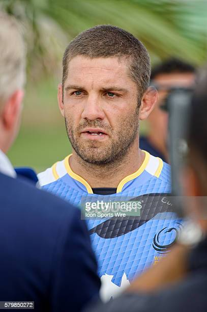 Western Force captain Matt Hodgson chats to the media during the 2016 Asteron Life Super Rugby Media Launch event at Wet'n'Wild Sydney in NSW...