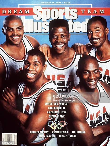 February 18 1991 Sports Illustrated Cover Basketball Summer Games Preview Portrait of Team USA Charles Barkley Magic Johnson Patrick Ewing Michael...