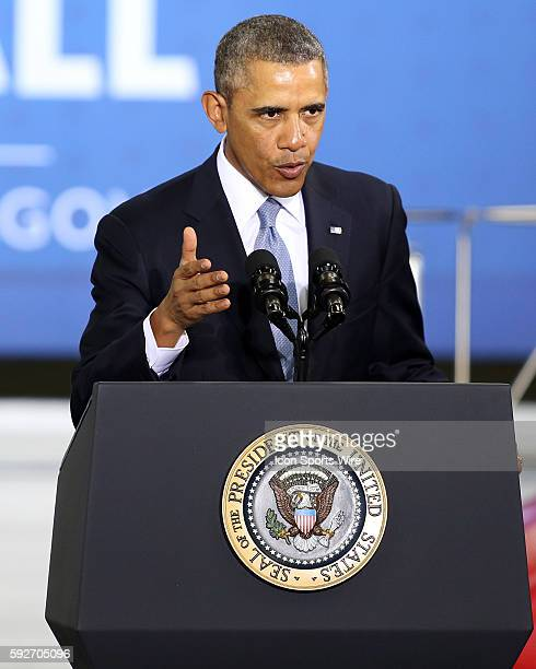 President Obama speaks about fuel efficiency standards at the Safeway Distribution Center in Upper Marlboro Maryland