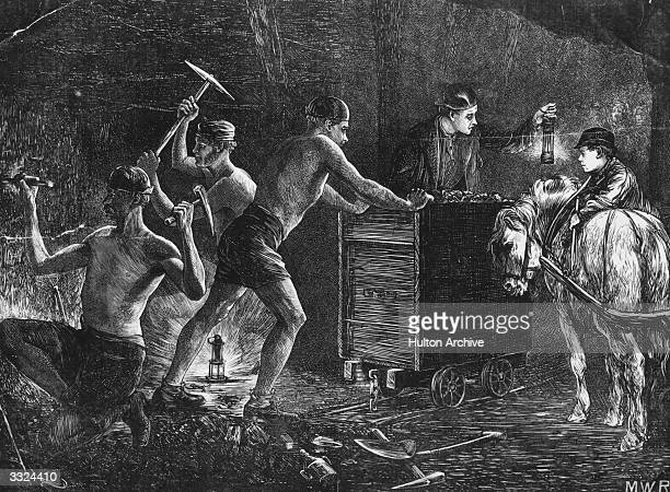 Pitmen hewing coal in the Durham coalfields Original Publication The Graphic