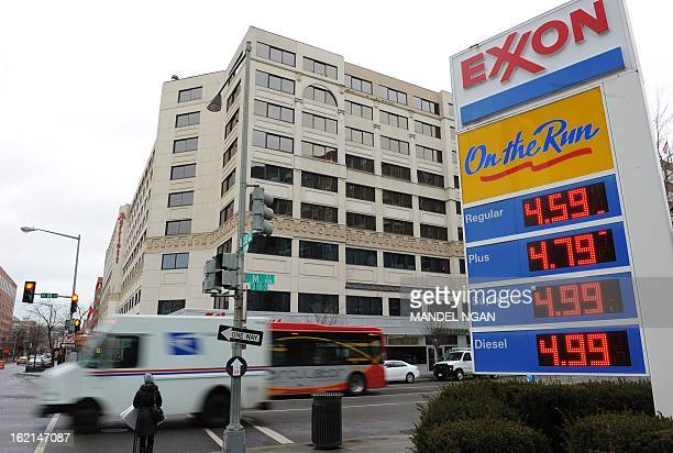 A February 19 2013 photo shows gas prices at an Exxon station in the Foggy Bottom neighbourhood of Washingon DC US gas prices at the pumps have risen...