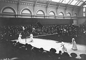 Women's Doubles action at the All England Badminton Championships held at Kenilworth Road Ealing London