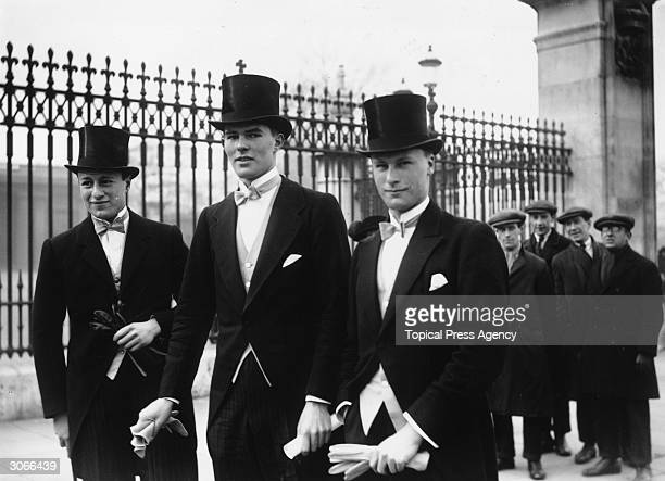 Harrow schoolboys arriving at Buckingham Palace for the wedding of Princess Mary