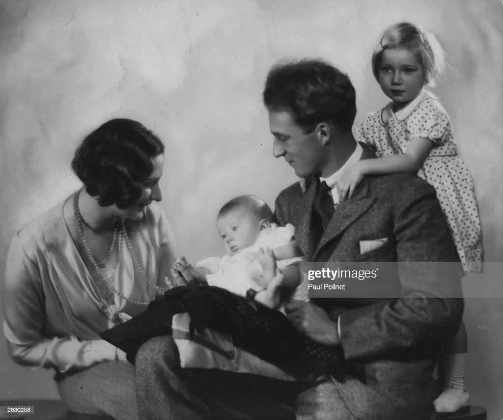Crown Prince Leopold (1901 - 1983) and Crown Princess Astrid (1905 - 1935) of Belgium with their two children, Josephine Charlotte, later Grand Duchess of Luxembourg, and baby Prince Baudouin (1930 - 1993), future King of the Belgians.