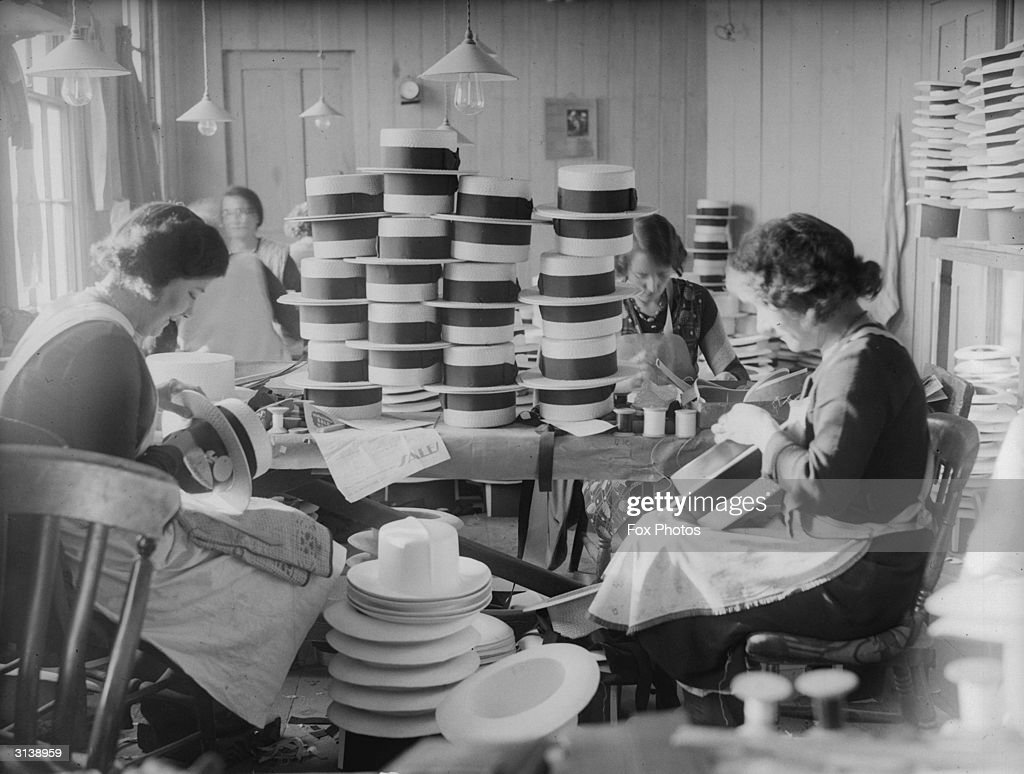 A group of women making straw hats at Partridge Smith Co Limited in St Albans
