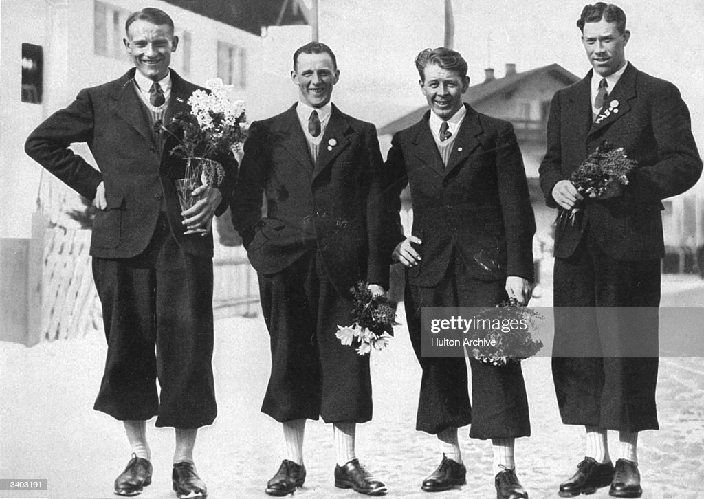 The Swedes take the first four places in the 50 km long distance skirace at the 1936 Winter Olympics at GarmischPartenkirchen Elis Wiklund Axel...