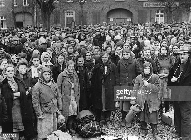 Russian and Polish girls who were forced to work in German factories liberated by the US 9th Army from Juchen concentration camp