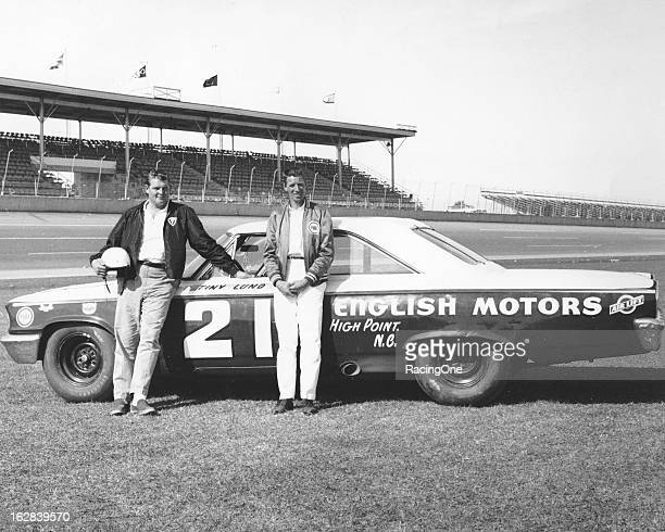 """Driver Dewayne """"Tiny"""" Lund and car owner Glen Wood with the Wood Brothers 1963 Ford Galaxie that Lund drove to victory in the Daytona 500 NASCAR Cup..."""