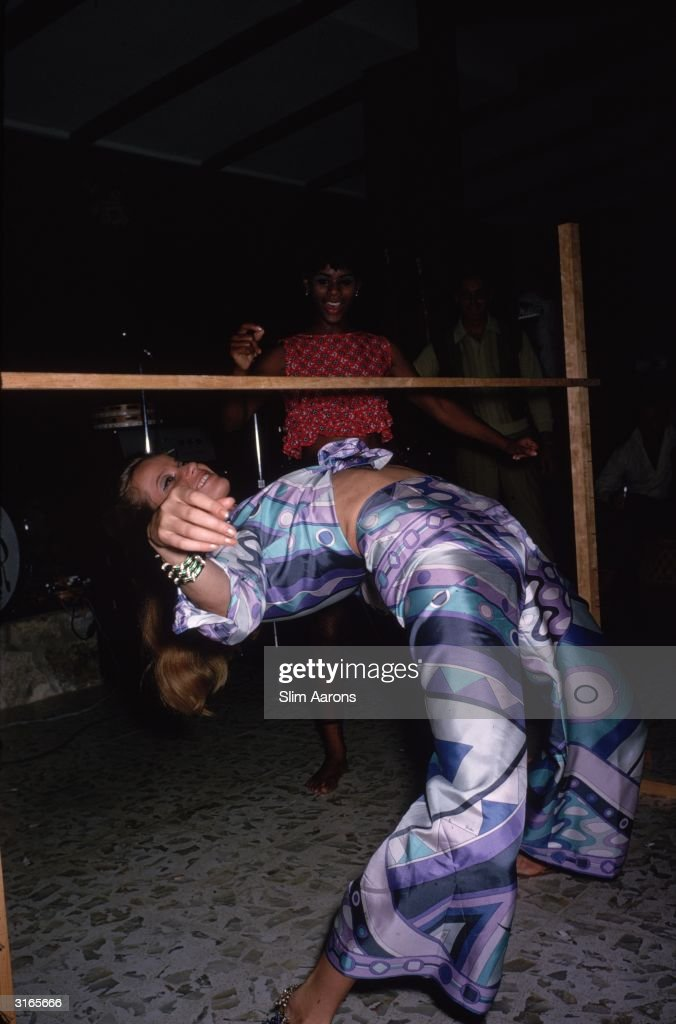 German countess model and film star Veruschka limbo dancing wearing a Pucci printed outfit She became a photographer of note after her modelling days...
