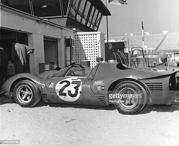 The eventual racewinning Ferrari 330P Spyder sits outside its garage at Daytona International Speedway prior to the 24 Hours of Daytona Chris Amon...