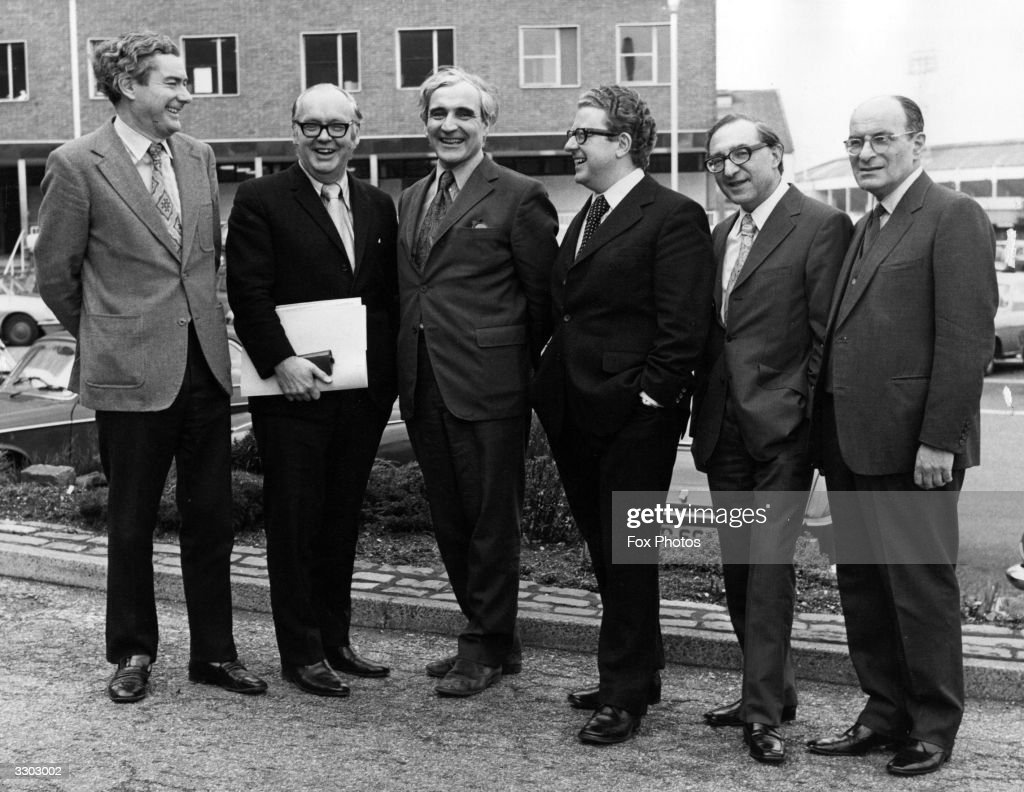 Radio and Television presenters for the General Election 1974 gather at the BBC Television Centre, Wood Lane, London. From left to right, they are Alastair Burnet, the main BBC TV presenter, Robert McKenzie, David Butler, Alan Watson, Hardiman Boott, and Russian Service Commentator Anatol Goldberg.
