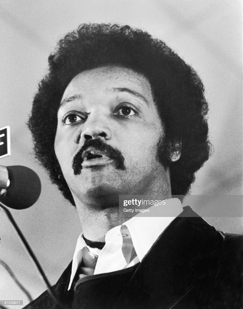 February 1979 Closeup of American civil rights leader Reverend Jesse Jackson speaking in Tallahassee Florida
