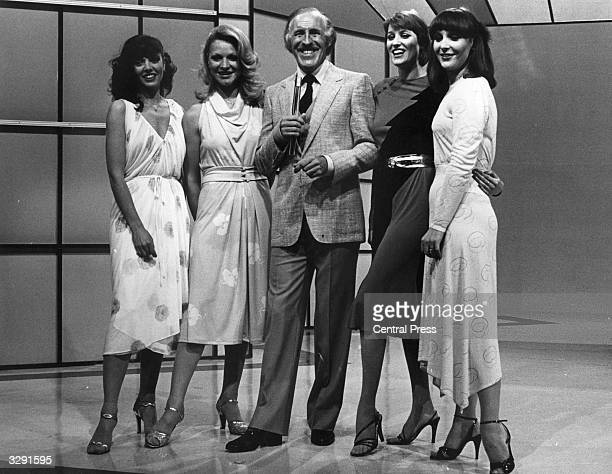Bruce Joseph ForsythJohnson an English entertainer and television game host better known as Bruce Forsyth seen here with the four female hostesses or...