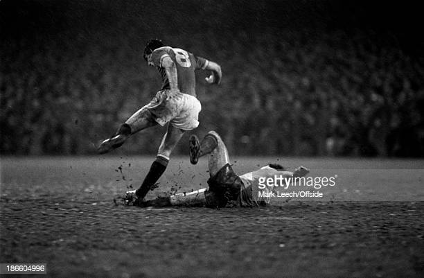 02 February 1980 Football League Division 1 Derby County v Manchester United abstract action on the muddy Baseball Ground pitch