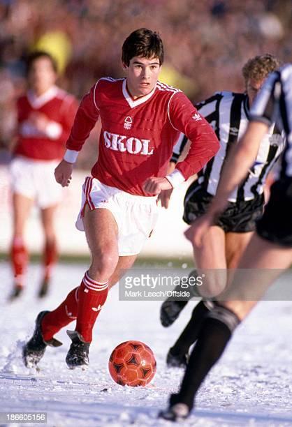 08 February 1986 English Football League Division One Nottingham Forest v Newcastle United Nigel Clough runs through the snow