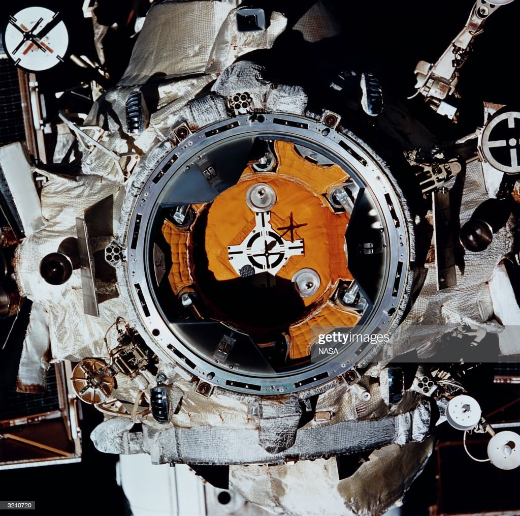 A closeup of the docking target on the Russian space station Mir as photographed by one of the STS63 crew members on the American shuttle Discovery...