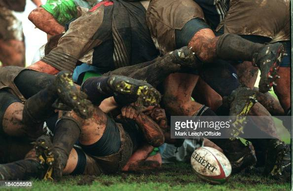 18 February 1997 Rugby Harlequins v Auckland Players try to ruck the ball in muddy conditions