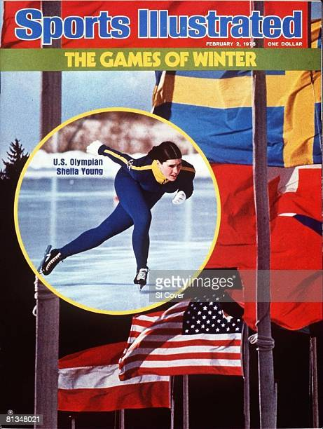 February 2 1976 Sports Illustrated Cover Speed Skating Winter Games Preview USA Sheila Young in action during practice View of international flags...