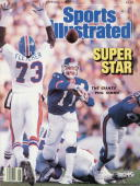 February 2 1987 Sports Illustrated Cover Football Super Bowl XXI New York Giants QB Phil Simms in action making pass vs Denver Broncos Pasadena CA...
