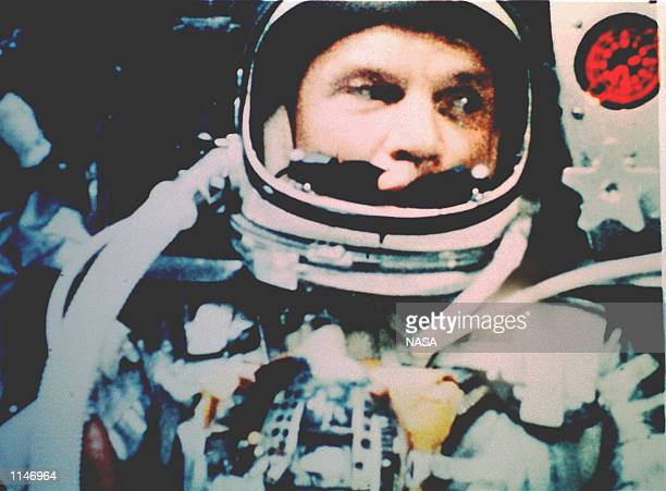 CANAVERAL FL February 20 1962 Astronaut John Glenn Jr photographed in space by an automatic sequence motion picture camera Glenn was in a state of...
