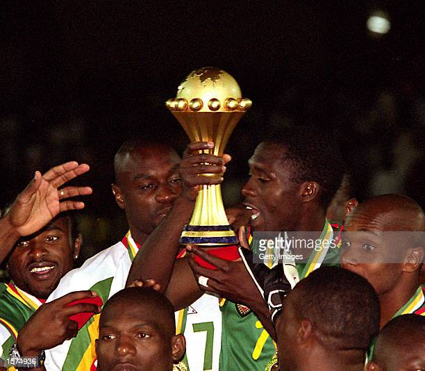 2002 African Nations Cup African Nations Cup Final Cameroon v Senegal Final 26 March Stadium Bamako Mali Gv Cameroon celebrate with trophy in the air...