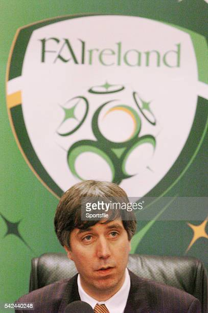 25 February 2005 John Delaney FAI Chief Executive at an announcement by the FAI of details of a major TV rights agreement for domestic soccer with...