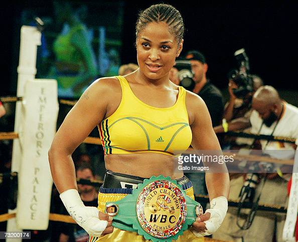 February 2007 Lalia Ali holding her belt after winning in 55 seconds during the WBC/WIBA Super Middleweight World Title bout between Lalia Ali and...