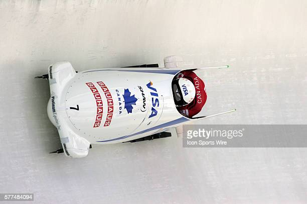 Canada 1 sled driven by Pierre Lueders and brakeman David Bissett finish in sixth place in the 2Man Bobsled with a combined time of 34352 in the...