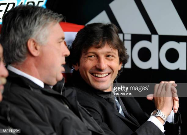 Carlo Ancelotti and Leonardo of AC Milan chat during the 'Serie A' 20082009 match round 25th between Milan and Cagliari at the 'Giuseppe Meazza'...