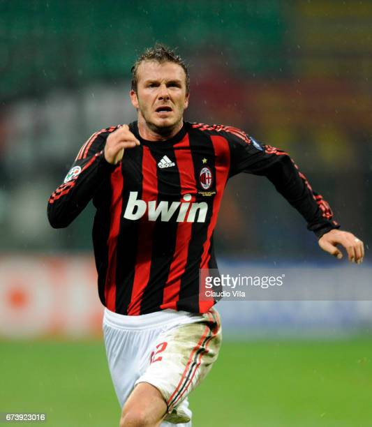 David Beckham of AC Milan during the 'Serie A' 20082009 match round 23th between Milan and Reggina at the 'Giuseppe Meazza' stadium in Milan