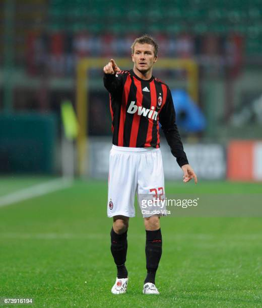 David Beckham of AC Milan in action during the 'Serie A' 20082009 match round 23th between Milan and Reggina at the 'Giuseppe Meazza' stadium in Milan