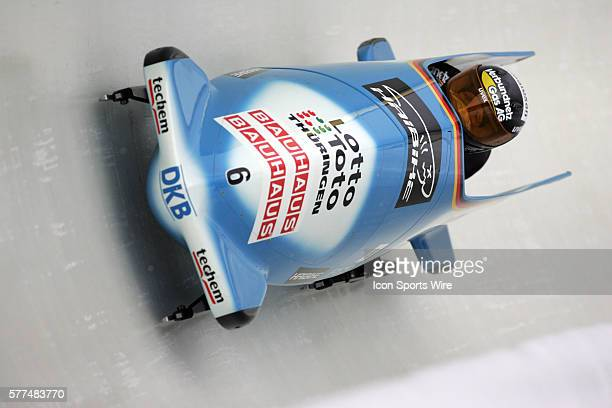 Germany 3 sled driven by Claudia Schramm and brakeman Nicole Herschmann in Heat 3 of the Women's Bobsled in the Bauhaus FIBT Bobsled and Skeleton...