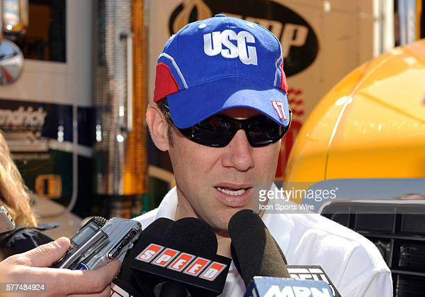 Matt Kenseth Roush Fenway Racing Ford Taurus during a press conference prior to the NASCAR Sprint Cup Series Shelby 427 practice at Las Vegas Motor...