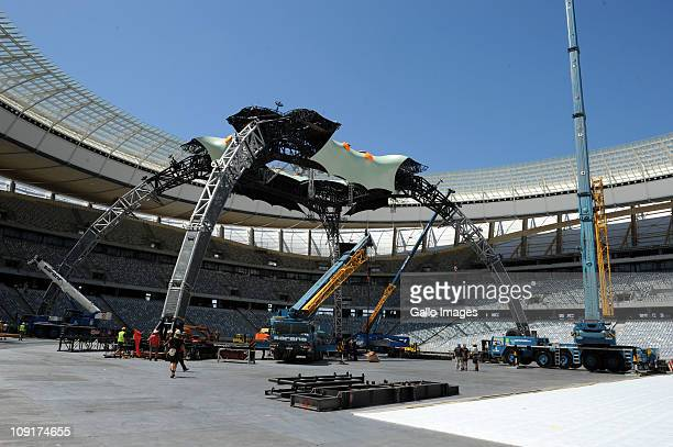 Construction crews preparing the Cape Town Stadium for Irish supergroup U2's 360 Degree World Tour concert on February 15 2011 in Cape Town South...