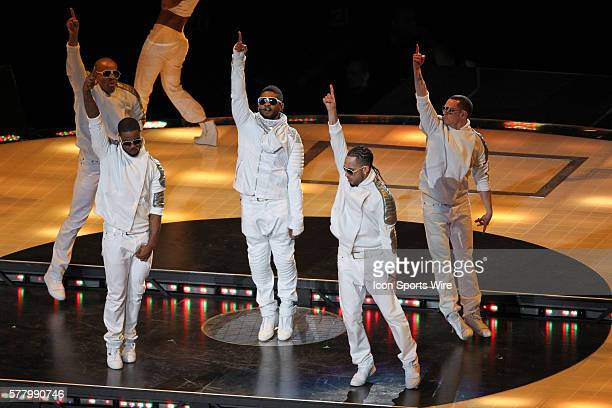 The Black Eyed Peas perform with Usher for the Halftime Show during the Pittsburgh Steelers game versus the Green Bay Packers in Super Bowl XLV at...