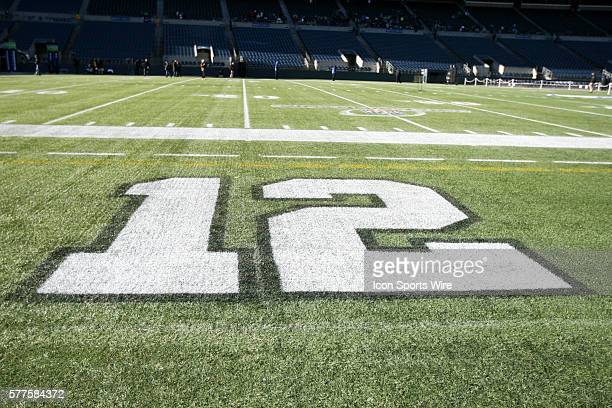 The number 12 could be seen displayed on the Seattle Seahawks field Seattle Seahawks players and 12th man fans celebrated bringing the Lombardi...