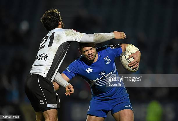 20 February 2015 Ben Te'o Leinster is tackled by Alberto Chillon Zebre Guinness PRO12 Round 15 Leinster v Zebre RDS Ballsbridge Dublin Picture credit...