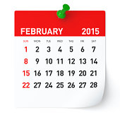 2015 Calendar. Isolated on White Background. 3D Rendering