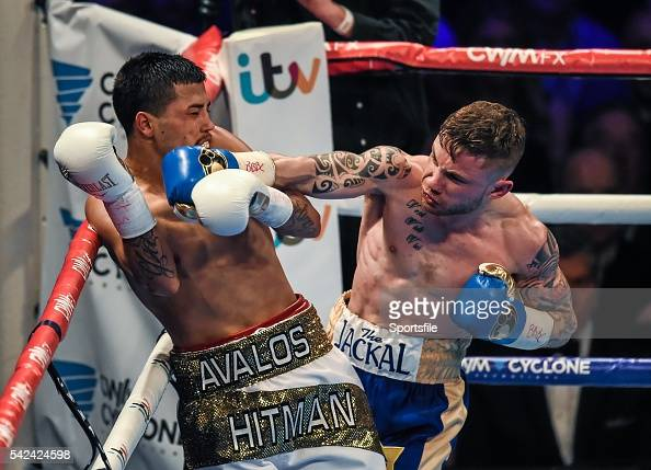 28 February 2015 Carl Frampton right lands a right hook on Chris Avalos during their IBF SuperBantamweight World Title fight The World is Not Enough...