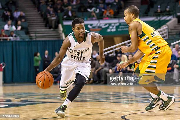Cleveland State Vikings G Charlie Lee drives to the basket against Wright State Raiders G Reggie Arceneaux during the game between the Wright State...