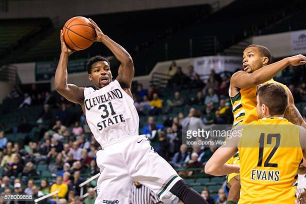 Cleveland State Vikings G Charlie Lee grabs a rebound during the game between the Wright State Raiders and Cleveland State Vikings at the Wolstein...