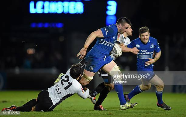 20 February 2015 Jack Conan Leinster is tackled by Alberto Chillon Zebre Guinness PRO12 Round 15 Leinster v Zebre RDS Ballsbridge Dublin Picture...