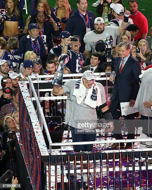 New England Patriots tight end Rob Gronkowski holds the Lombardi Trophy after Super Bowl XLIX at University of Phoenix Stadium in Glendale Az The New...