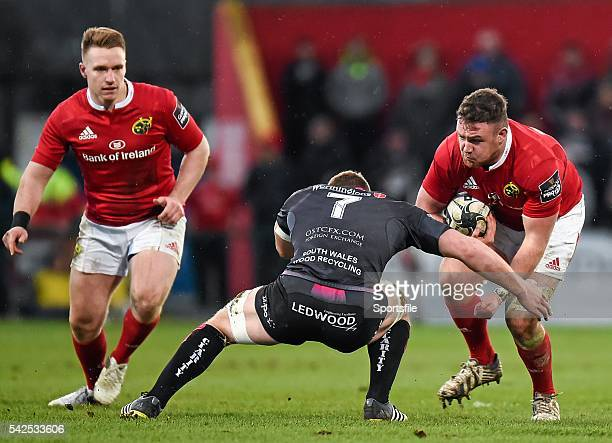 14 February 2016 Dave Kilcoyne Munster is tackled by Sam Underhill Ospreys Guinness PRO12 Round 14 Munster v Ospreys Irish Independent Park Cork...
