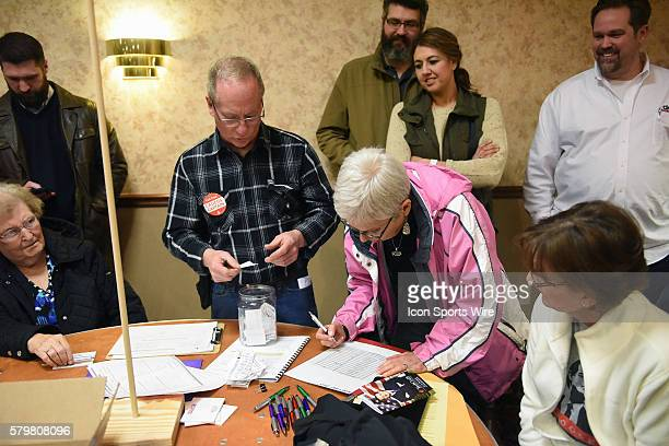 Each paper ballot is counted by hand during a local Republican Party caucus as part of the Iowa Caucus in Fort Madison Iowa Fort Madison area...