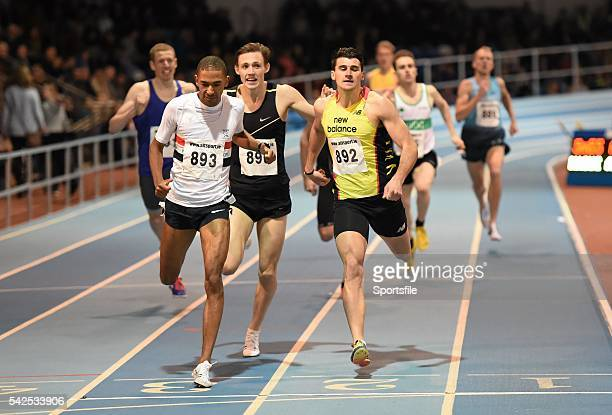 17 February 2016 Michael Rimmer of Great Britain left beats Guy Learmonth of Great Britain to win the men's 800m event at the AIT International...
